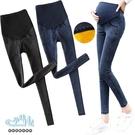 加絨加厚素面百搭高腰孕婦【腰圍可調】牛仔褲 兩色 【CRH651202】孕味十足 孕婦裝