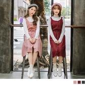 《DA5013》無袖蝴蝶結素面麂皮洋裝/上衣 OrangeBear