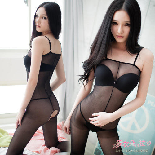 情趣睡衣 貼身透膚絲襪 貓裝黑色連身褲襪 開襠性感內衣褲- 愛衣朵拉