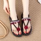 波西米亞民族風沙灘鞋海邊平底涼鞋女夏2021新款外穿防滑人字涼拖 果果輕時尚