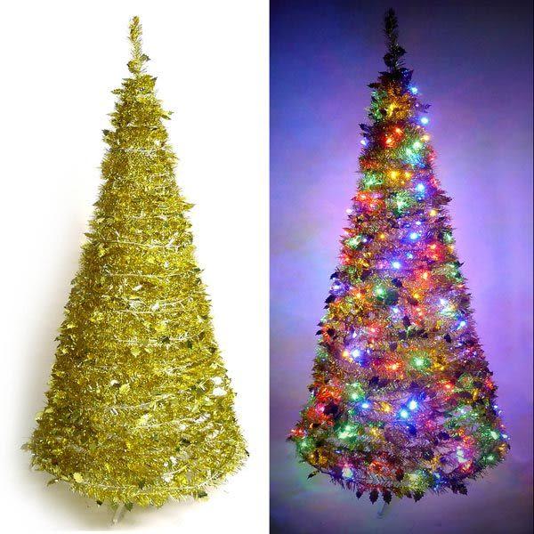 6尺/6呎(180cm) 創意彈簧摺疊聖誕樹 (金色系)+LED100燈串一條 (9光色可選)(本島免運費)
