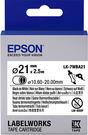LK-7WBA21 EPSON 熱縮套管系列白底黑字標籤帶(內徑21mm) C53S657903