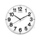 SEIKO 精工 / 座掛兩用 立體數字 滑動式秒針 極簡風 餐廳客廳臥室 靜音 座鍾 圓掛鐘 - 白色 #QXA656W