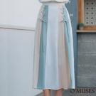 OMUSES 撞色編織A-Line白色長裙