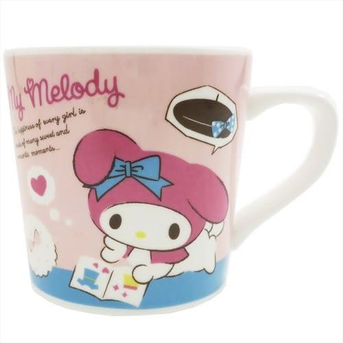 Hamee 日本正版 原價179 三麗鷗 可愛陶瓷馬克杯 把手印花 咖啡杯 交換禮物 (時尚美樂蒂) 44356