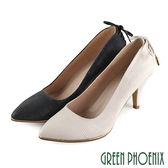U50-2H044 女款尖頭高跟鞋  皮革壓紋蝴蝶結金屬邊全真皮尖頭高跟鞋/上班鞋/宴會鞋【GREEN PHOENIX】