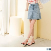 高含棉.視覺顯瘦牛仔褲裡短裙 OrangeBear《CA2401》