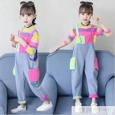 女童春裝牛仔背帶褲2021新款中大童女裝韓版褲子洋氣兒童春秋套裝 夏季新品