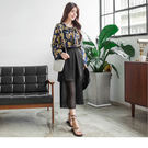 OrangeBear《BA3019》素色不規則片裙設計透膚百褶褲襬造型雪紡寬褲--適 XL~4L