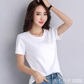 2021新款麻棉短袖T恤女純棉寬鬆圓領上衣百搭半袖簡約打底衫夏季