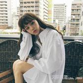 白色襯衫女2019春裝新款學生bf風百搭開衫外套寬鬆中長款長袖上衣 艾莎嚴選