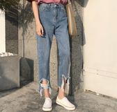 EASON SHOP(GU5602)褲腳大破洞撕邊高腰牛仔褲女長褲直筒褲寬鬆韓版九分褲水洗淺藍刷破割破洞重磅