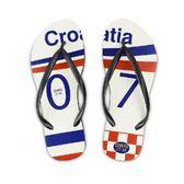 QWQ創意鞋-  世界盃足球紀念鞋 克羅埃西亞 細帶女款天然橡膠人字拖