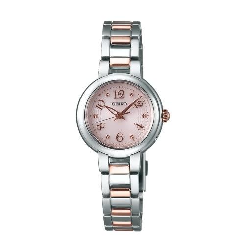 SEIKO VIVACE 優雅巴黎太陽能電波女腕錶/粉x銀框/1B21-0AM0K