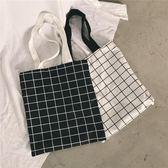 韓版簡約百搭雙面格子帆布袋學生單肩字母帆布包文藝小清新手提包