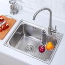 廚房水槽 廚房水槽304不銹鋼洗菜盆加厚洗手盆洗碗水池淘菜盆拉絲單槽雙槽