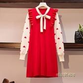 大碼女裝2020秋冬裝新款胖mm寬松顯瘦娃娃領毛衣胖妹妹長袖連身裙「時尚彩虹屋」