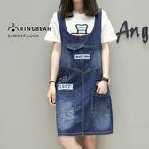 牛仔連身裙--美式街頭個性風貼繡圖案中厚感丹寧多口袋背心裙(藍XL-5L)-Q84眼圈熊中大尺碼