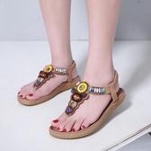 平底涼鞋 新款波西米亞涼鞋女平底舒適防滑牛筋底民族風度假夾趾沙灘鞋