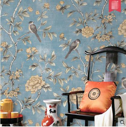 新古典田園花鳥復古壁紙現代中式牆紙客廳電視背景牆書房玄關
