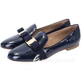 Salvatore Ferragamo SCOTTY 蝴蝶结飾漆皮樂褔鞋(深藍色) 1340667-34