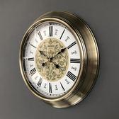 歐式美式北歐復古家用客廳靜音圓形大號掛表時鐘掛鐘鐘表石英鐘 居享優品