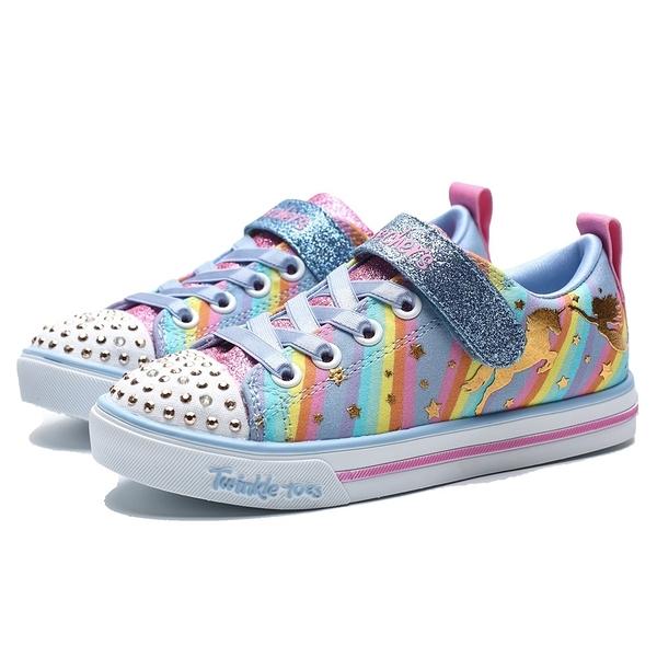 SKECHERS SLIGHT 5 粉橘紫 條紋 獨角獸 發亮款 運動鞋 中童 (布魯克林) 20275LLBMT