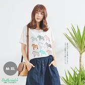 小馬印花棉麻後寬拼接上衣(白)-M-XL【Gentle wind】
