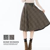 【南紡購物中心】KOMI-學院風格紋毛呢A字裙‧附皮帶‧二色