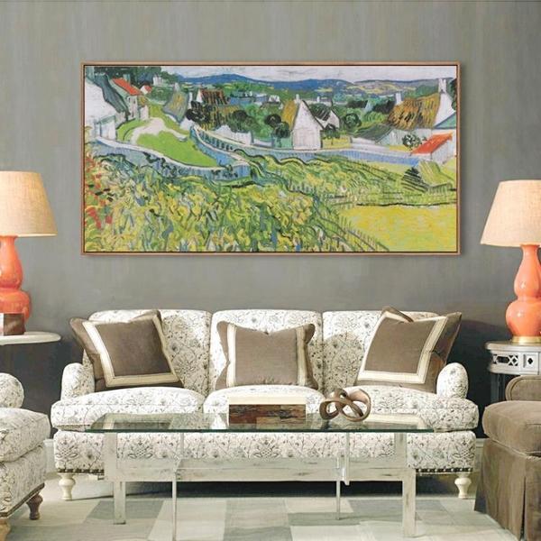 壁畫北歐裝飾畫客廳餐廳橫版長幅畫梵高印象派風景油畫WY