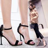 細跟露趾涼鞋韓版一字扣百搭高跟鞋性感女鞋子潮貓跟 黛尼時尚精品