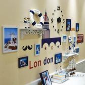 照片墻 照片墻裝飾相框墻簡約現代地中海風格背景墻客廳臥室組合相片掛墻XW  一件免運