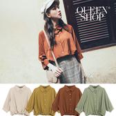Queen Shop【01096476】下綁帶排釦設計七分袖襯衫 四色售*現+預*