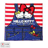 Hello Kitty手巾 牛仔造型純綿100%日製便當包巾/手巾/手帕 [喜愛屋]