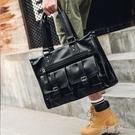 休閒韓版男包多口袋男士手提包公文包 出差電腦包 橫款皮質男包潮 一米陽光