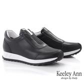 Keeley Ann我的日常生活 撞色線條舒適全真皮休閒鞋(黑色) -Ann系列