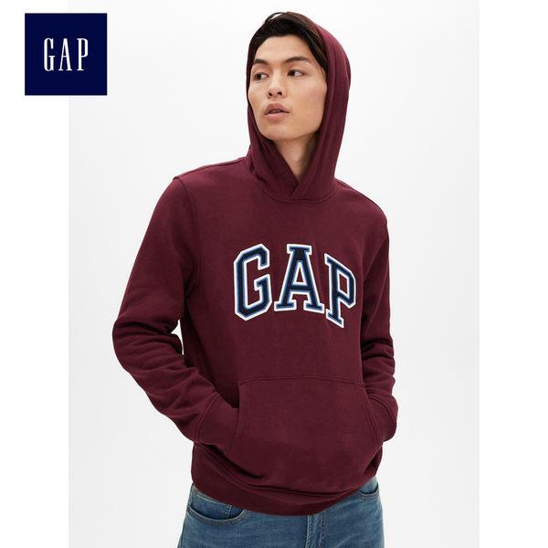 Gap男裝 Logo長袖套頭連帽休閒上衣 488108-深葡萄色