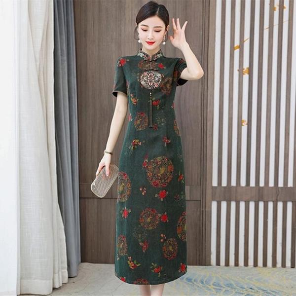 夏天改良旗袍香云紗洋裝女2021新款高端氣質修身短袖媽媽長裙子 幸福第一站