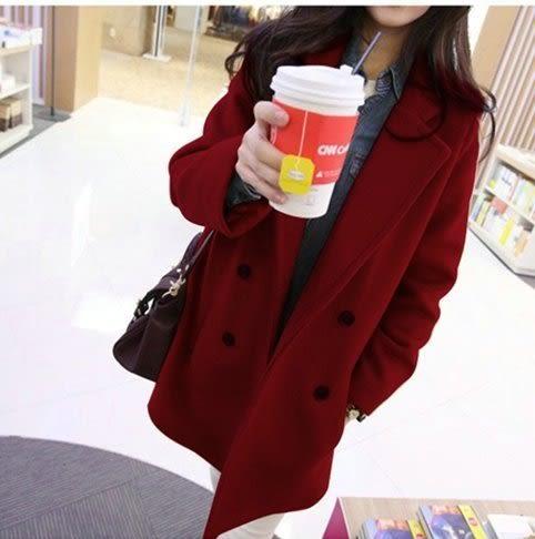 現貨卡其M秋冬装新款女装修身学生后开叉妮子大衣韩版可爱毛呢外套 依品國際