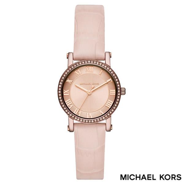 MICHAEL KORS 巧克力咖啡框水鑽圈羅馬字粉色皮帶女錶 28mm MK2723 公司貨保固2年   名人鐘錶