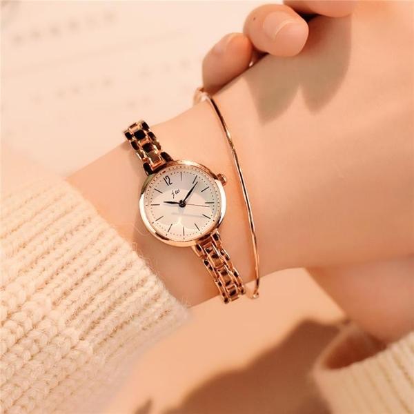 手表女學生韓版簡約潮流ulzzang鐵鏈鋼帶時尚休閒百搭小清新女表 怦然新品