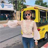 2018 新款 韓版 女裝 蕾絲 網紗 燈籠袖 衛衣 女