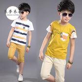 男童套裝童裝男童夏裝新款韓版運動套裝中大童棉質短袖兒童夏季T恤潮