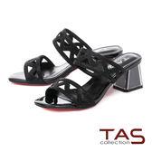 TAS 水鑽波浪曲線粗跟涼拖鞋-俐落黑