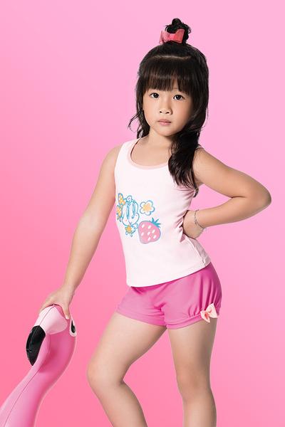 【  APPLE   】蘋果牌泳裝降價↘特賣~女童粉底Q版米妮搭泡泡褲二截式泳衣 附泳帽    NO.107601