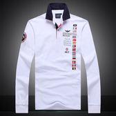[美國空軍一號休閒服飾] 外貿春秋季新款翻領休閒長袖T恤 男式POLO衫809/白色**預購