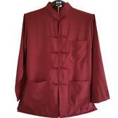 中國風上衣 唐裝男 中國服 長袖 紅色上衣