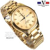 valentino coupeau范倫鐵諾 古柏 風車紋晶鑽時刻指針錶 防水手錶 男錶 學生錶 金面x金 V61607KAM-3