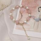 手錬 淡粉色夢境天然珍珠水晶手錬女ins小眾設計招桃花手串