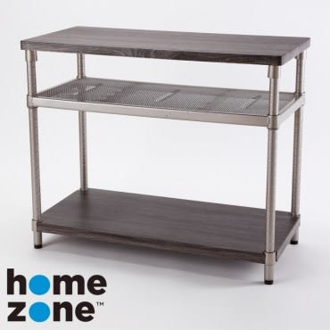 Home Zone 三層木紋鐵網層架 37x77x60cm